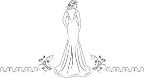 Beautiful woman in a long dress. Icon for fashion design Royalty Free Stock Photos