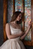 Beautiful woman in long dress stands near window Stock Photography