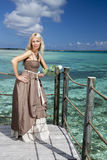 The beautiful woman in a long dress on a wooden platform over the sea Royalty Free Stock Photography