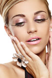 Beautiful woman with long eyelashes. royalty free stock photo
