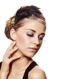 Beautiful  woman with long eyelashes Stock Photos