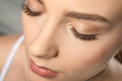 Beautiful woman with long eyelashes,. Closeup royalty free stock image