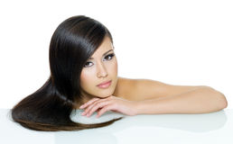 Beautiful woman with long hair stock photography