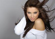 Beautiful woman with long hair. stock photo