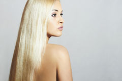 Beautiful Woman with long hair. Beauty Blond Girl. Healthy hair Stock Photo