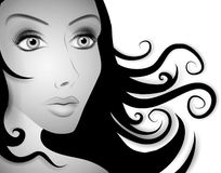 Beautiful Woman Long Hair BW stock illustration