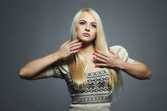 Beautiful Woman with long hair in dress.Blond Girl.Healthy hair Stock Photos