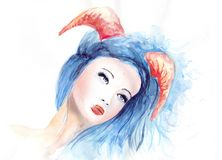 Beautiful woman with long hair and horns Royalty Free Stock Image