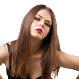 Beautiful woman with long hair and make-up Royalty Free Stock Photography