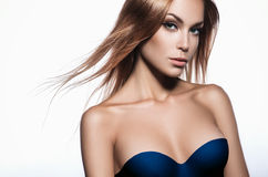 Beautiful woman with long hair Stock Images