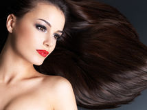 Beautiful woman with long hairs Stock Images
