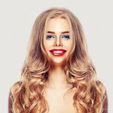 Beautiful Woman with Long Healthy Blonde Hair, Makeup, Smile Stock Image