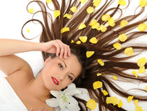 Beautiful woman with long healthy hair relaxing Stock Photos
