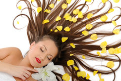 Beautiful woman with long healthy hair relaxing Royalty Free Stock Images