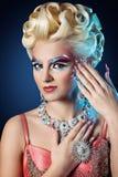 Beautiful woman long nails make up full fashion look Stock Photos