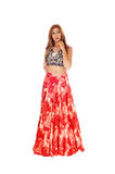 Beautiful woman in long red skirt Royalty Free Stock Images