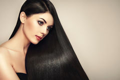 Beautiful woman with long smooth hair royalty free stock photo