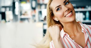 Beautiful woman with long blond hair stock image