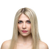 Beautiful woman with long straight blond hair Stock Photos