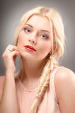 Beautiful woman with long straight blond hair. Fashion model Royalty Free Stock Photos