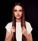 Beautiful woman with long straight brown hair Royalty Free Stock Photos