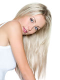 Beautiful woman with long straight hair. Isolatad Stock Photos