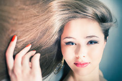 Beautiful woman with long straight hair. Hairstyle and barbershop. Healthy shampoo. Beauty concept. Hairdressing salon Royalty Free Stock Images