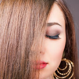 Beautiful woman with long straight hair. Hairstyle and barbershop. Healthy shampoo. Beauty concept. Hairdressing salon. Copy space Royalty Free Stock Photos