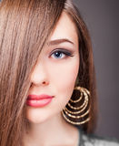 Beautiful woman with long straight hair. Hairstyle and barbershop. Healthy shampoo. Beauty concept. Hairdressing salon. Copy space Royalty Free Stock Photography