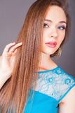 Beautiful woman with long straight hair. Hairstyle and barbershop. Healthy shampoo. Beauty concept. Hairdressing salon. Copy space Royalty Free Stock Images