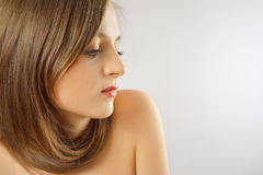 Beautiful Woman with Long Straight Healthy Hair. Hairstyling. Royalty Free Stock Photography