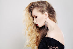 Beautiful Woman with Long Wavy Blonde Hair Stock Images