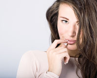 Beautiful woman with long wavy hair. Stock Photo