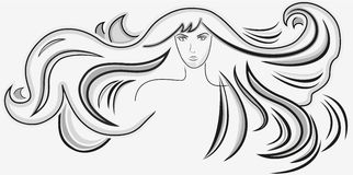 Beautiful woman with long wavy hair Stock Photography