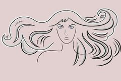 Beautiful woman with long wavy hair Royalty Free Stock Photography