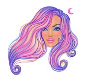 Beautiful woman with long wavy purple dyed hair flowing in the w. Ind. Hair salon concept. illustration isolated. Portrait of a young Caucasian woman. Glamour royalty free illustration