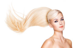Beautiful woman with long white hair. Stock Photos