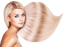 Beautiful woman with long white hair. Royalty Free Stock Image