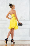 Beautiful woman in a long yellow dress. Royalty Free Stock Photo