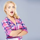 Beautiful woman with a look of surprise Stock Images