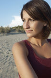Beautiful Woman Looking Away On Beach Stock Images