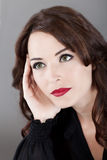 Beautiful woman looking away thinking Stock Photo