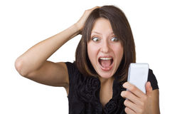 Beautiful woman looking at cell phone Royalty Free Stock Photography