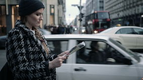 Beautiful woman looking with city map on the street. stock video