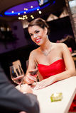 Beautiful woman looking at her boyfriend Royalty Free Stock Photo