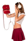 Beautiful woman looking through her pocket book purse Royalty Free Stock Photo
