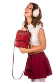 Beautiful woman looking through her pocket book purse Stock Images