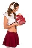 Beautiful woman looking through her pocket book purse Stock Photos