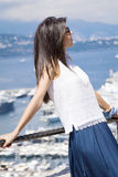 Beautiful woman looking at Monte Carlo harbour in Monaco. Azur coast. Stock Images