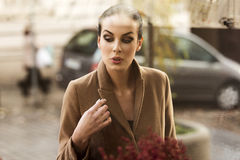 Beautiful woman looking on the shop Stock Images